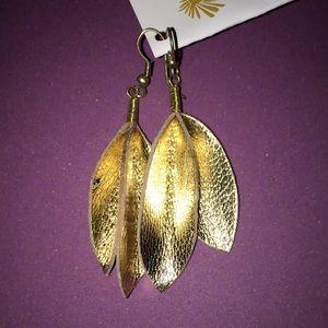 Dangly gold leather-like earrings